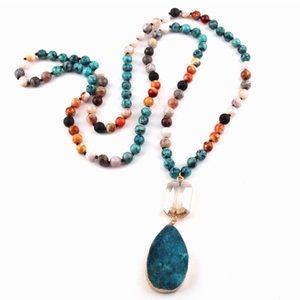 Anthropologie Druzy Quartz Pendant Necklace